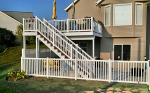 White Polyvinyl Pool Fence in Zeeland, Michigan.