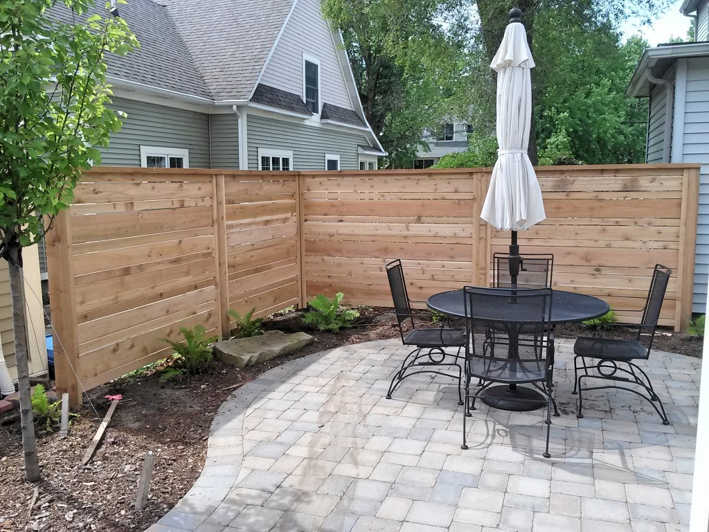 Custom Cedar Horizontal Privacy Fence in Grand Haven, Michigan.