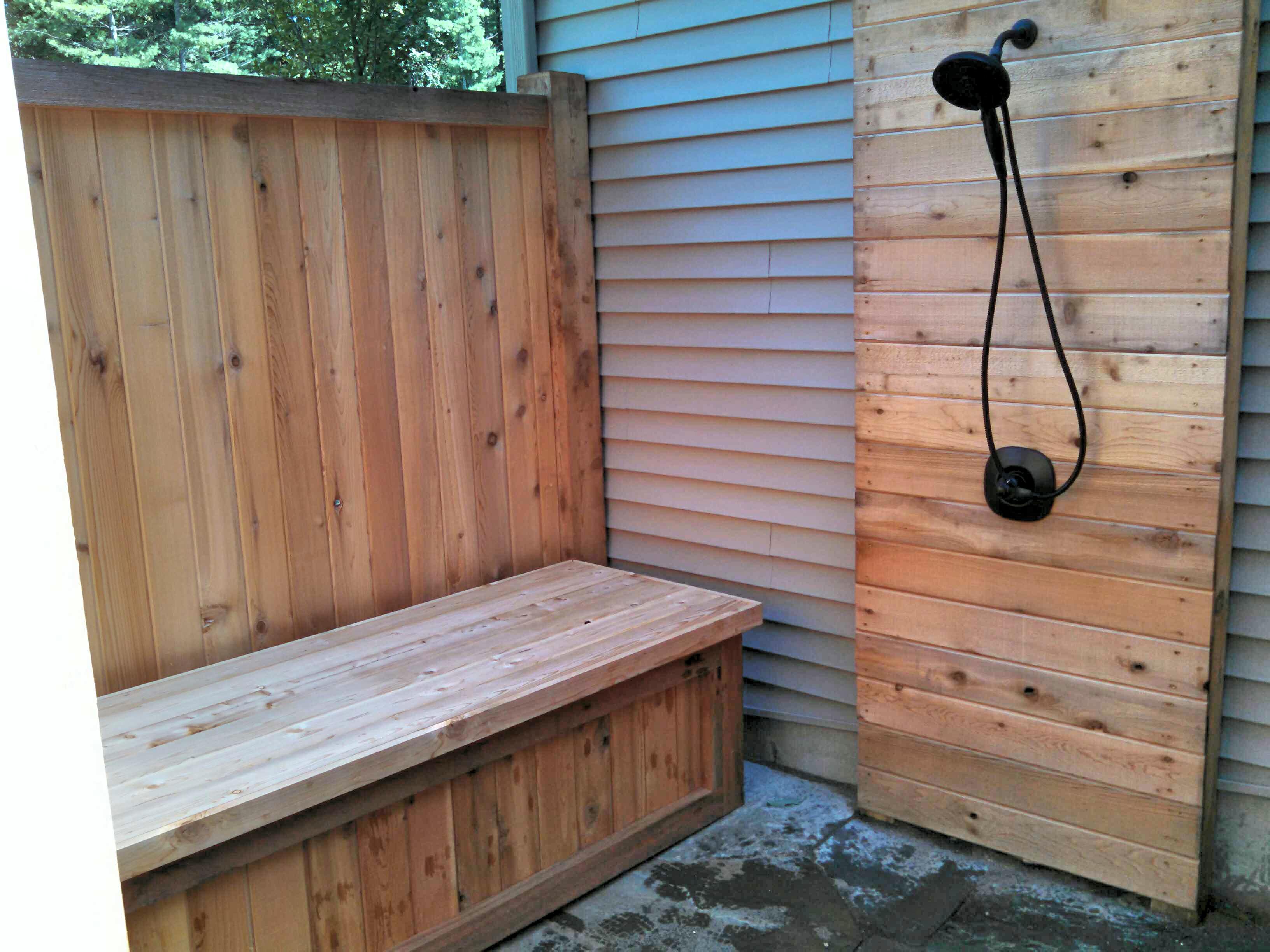 Custom cedar outdoor shower enclosure w bench straight