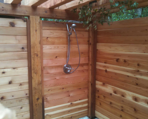 Outdoor Shower with Horizontal Cedar