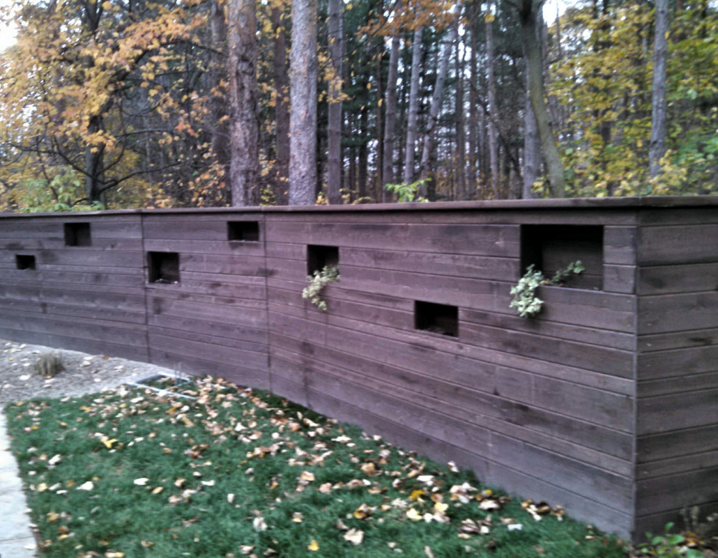 Custom Stained Cedar Tongue and Groove with Planters